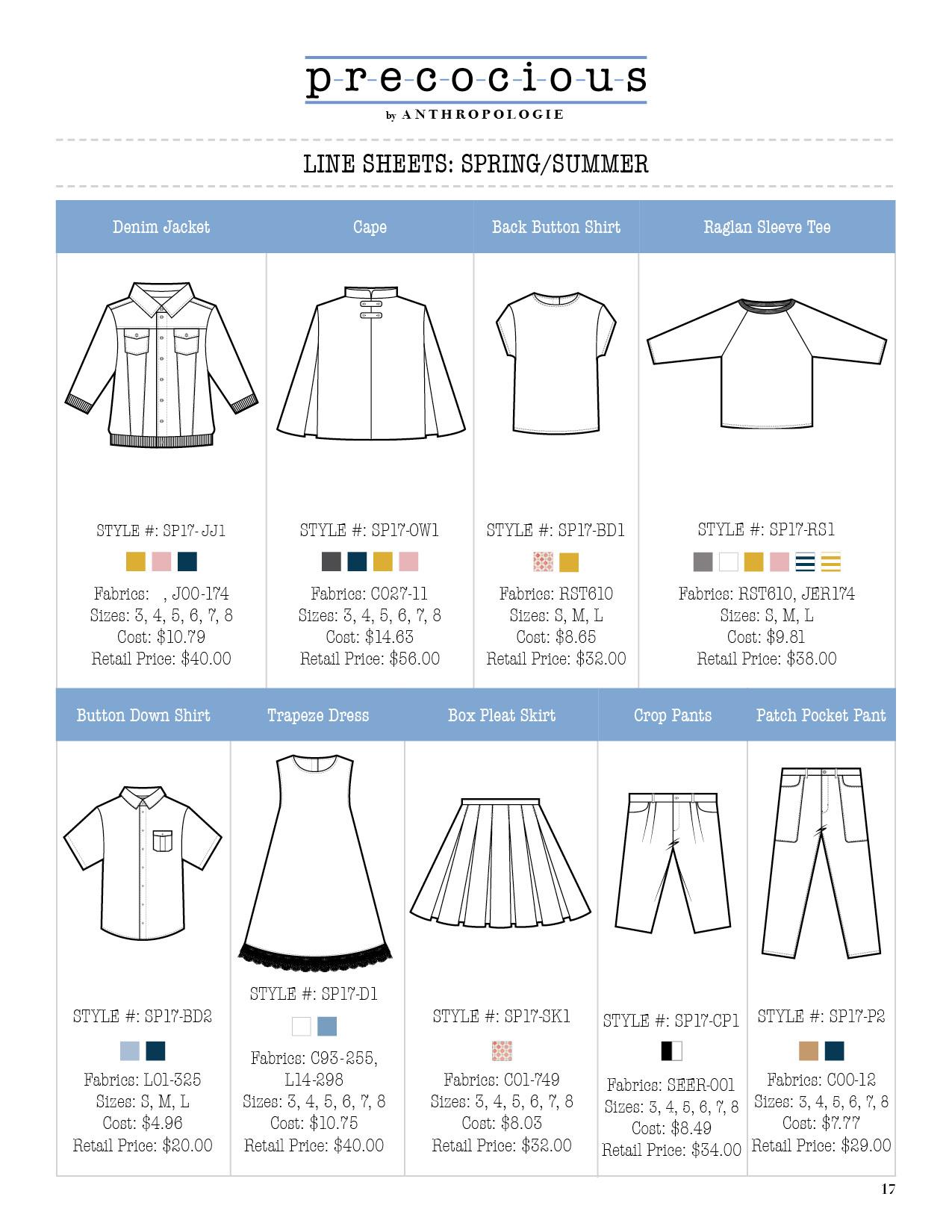Precocious Product Development Line Extension Line Sheet
