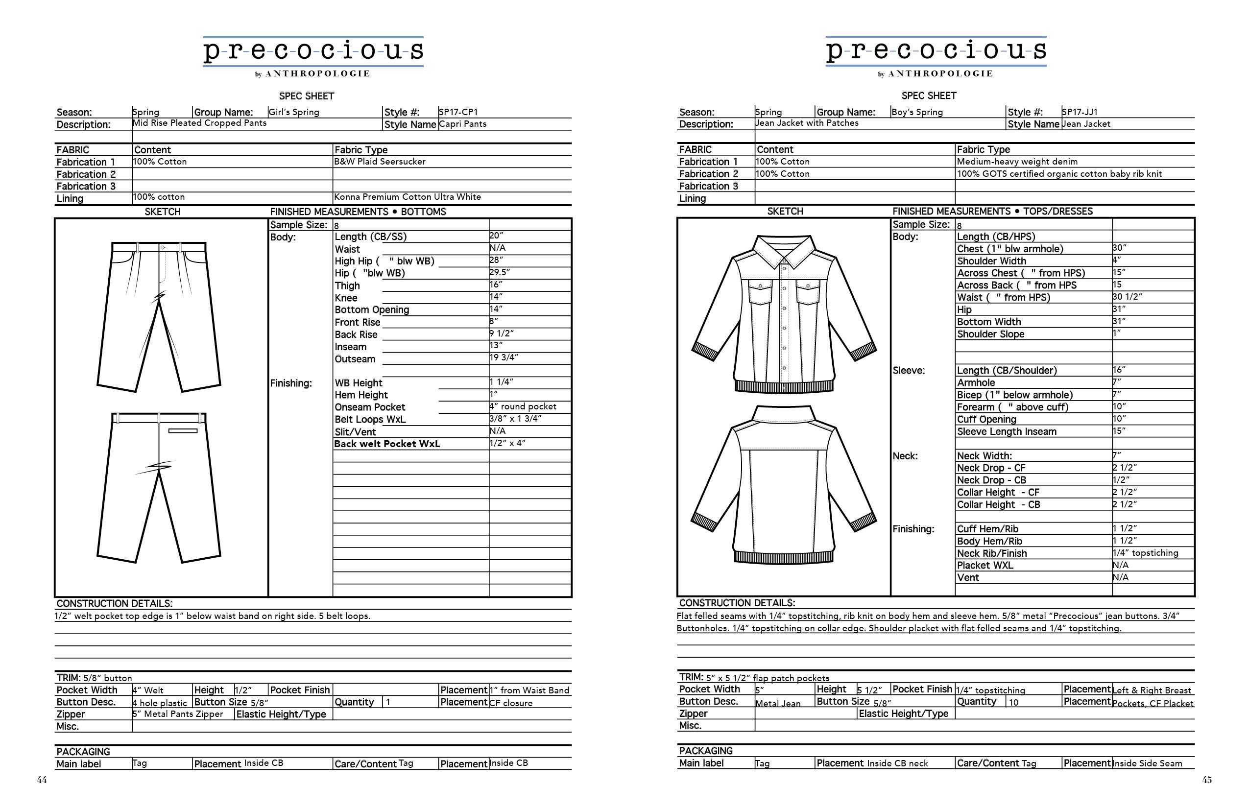 Precocious Product Development Line Extension Spec Sheets