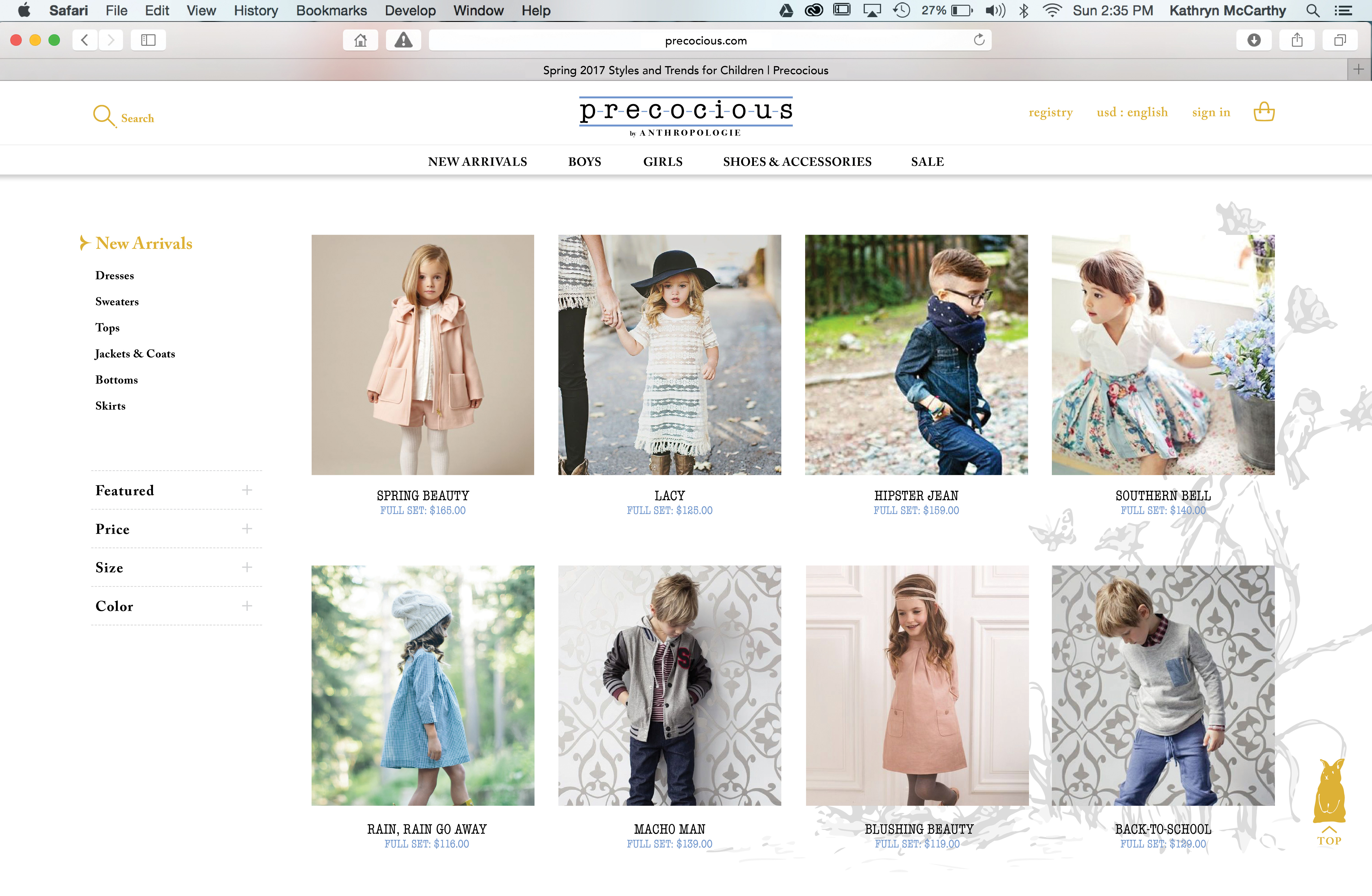 Precocious Product Development Line Extension Website Mock-Up